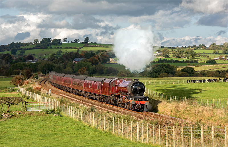 After previously trying this shot at Langwathby several times the sun finally shone ( only just mind ) for the passing of 6201, 'Princess Elizabeth' heading south with the Cumbrian Mountain Express.