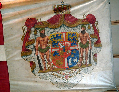 Unusual early crest on a ship's flag in the Frigate Jylland Museum in Ebeltoft, Denmark