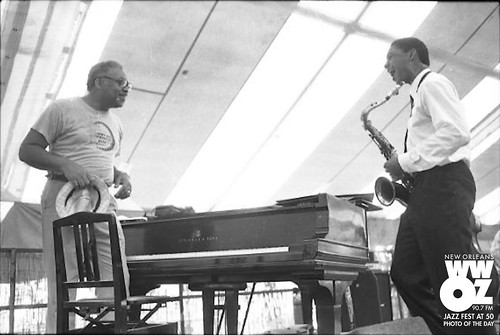 Ellis and Branford Marsalis onstage together at Jazz Fest ca. 1987. Photo by Burt Steel, courtesy of the New Orleans Jazz & Heritage Archive.