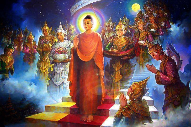 Sri Buddha turun dari Surga Tavatimsa
