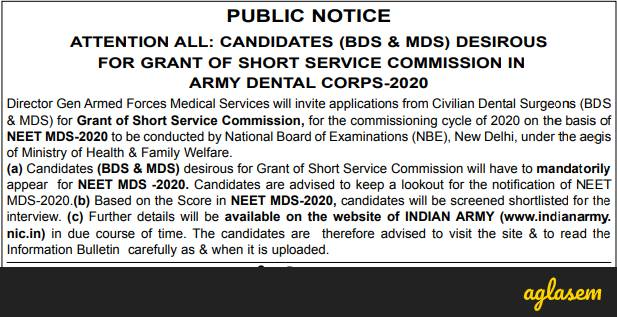 Army Dental Corps Recruitment 2020 Through NEET MDS 2020 Notification Out, Selection On Basis Of NBE Exam And  Interview