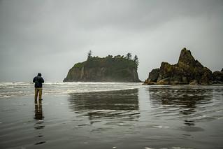 Getting The Shot - Ruby Beach, Washington (Raining)