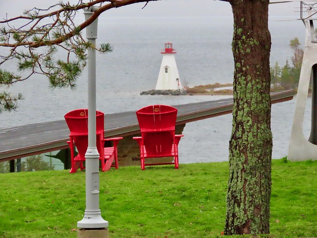 Alexander Graham Bell National Historic Site, Red chairs with lighthouse view, Baddeck, Cape Breton