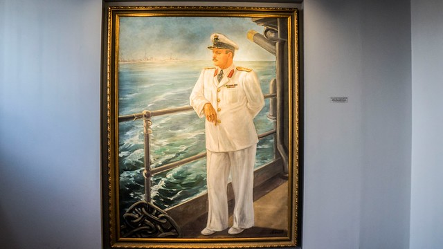 King Farouk I of Egypt and Sudan on aboard of Egyptian warship painting