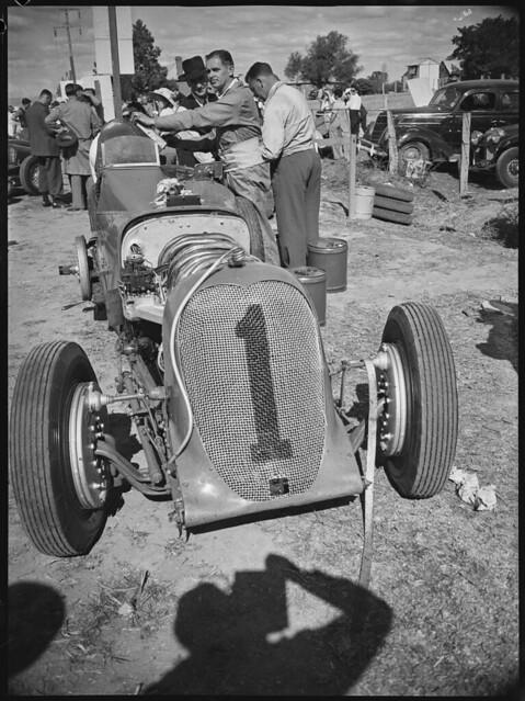 Working on Frank Kleinig's Hudson Eight Special,Grand Prix, Bathurst, October 1946
