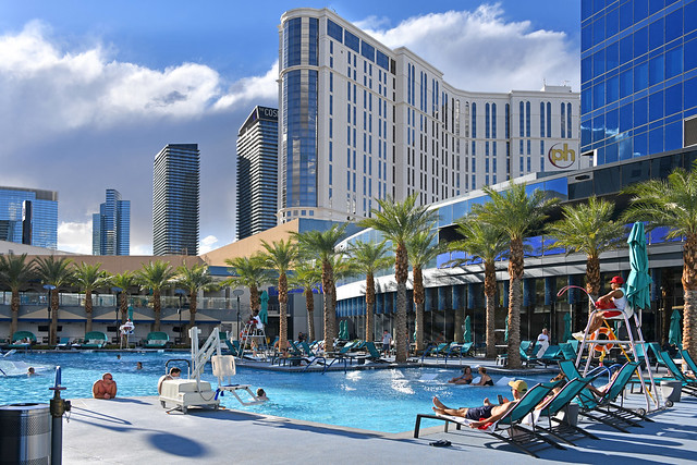 Elara by Hilton Grand Vacations. Pool area. Las Vegas NV, USA 10-03-18 This upmarket 52-story hotel is next door to Planet Hollywood Resort and Casino
