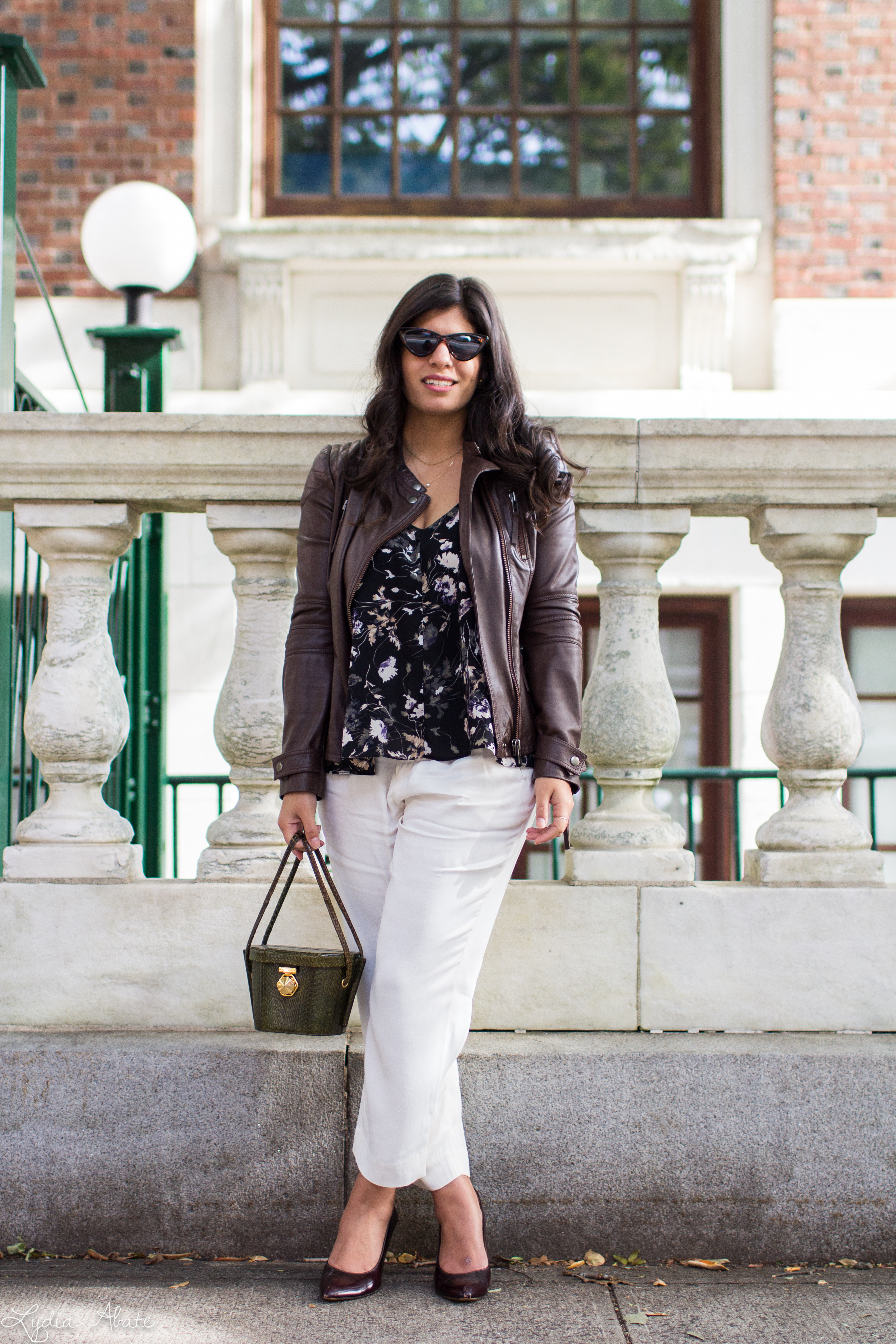 brown leather jacket, white pants, floral cami, green snakeskin bag-15.jpg