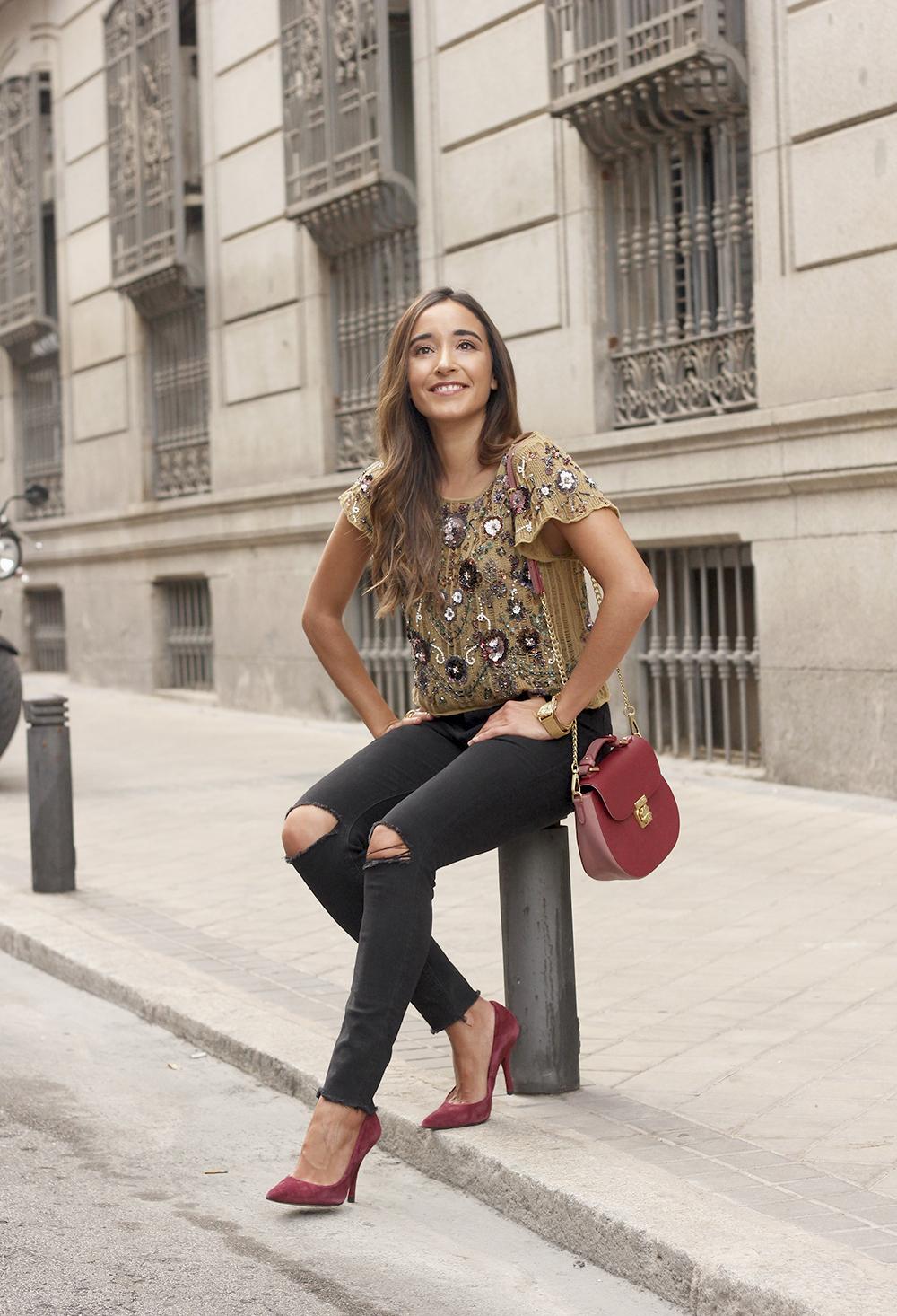 paillettes vertes top jeans noir veste en jean style de la rue tenue 20186
