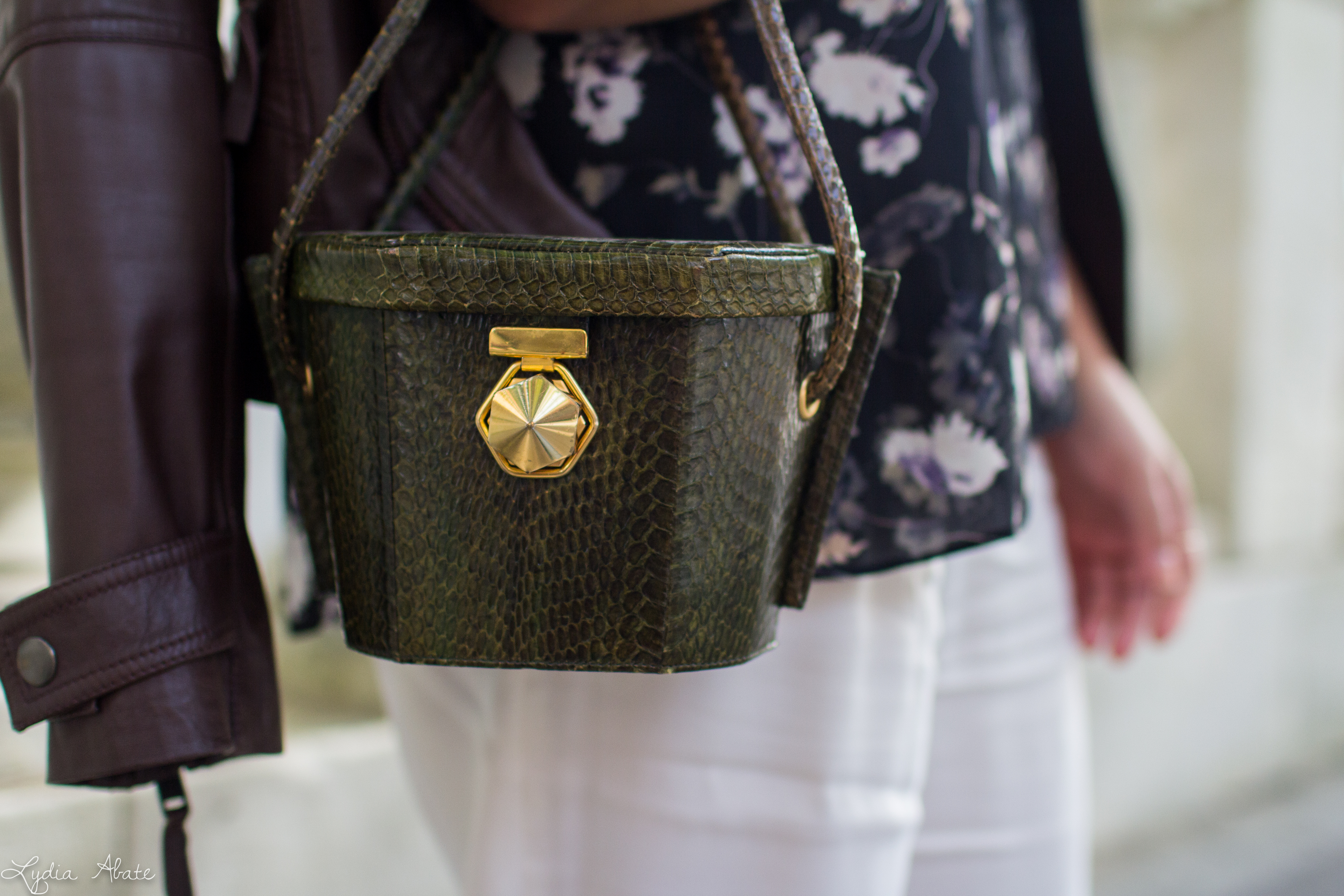 brown leather jacket, white pants, floral cami, green snakeskin bag-7.jpg