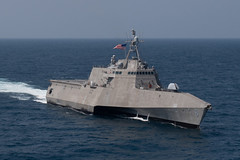 GULF OF THAILAND (Sept. 4, 2019) USS Montgomery (LCS 8), an Independence-variant littoral combat ship, sails in formation during ASEAN-U.S. Maritime Exercise (AUMX). The first AUMX, co-led by the U.S. and Royal Thai navies, includes maritime forces from the U.S. and all 10 ASEAN member states. AUMX promotes shared commitments to maritime partnerships, security and stability in Southeast Asia. (U.S. Navy photo by Mass Communication Specialist 1st Class Alexandra Seeley)