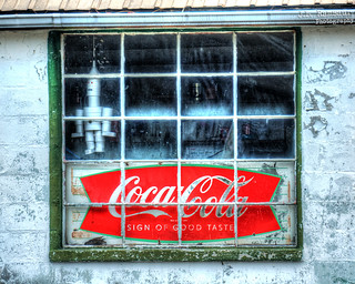 Old Coco-Cola Sign in a Window - Allons, Tennessee