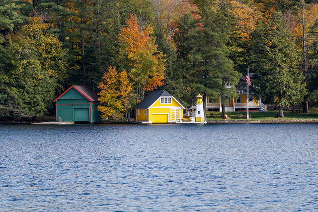 Boathouses on the Pond