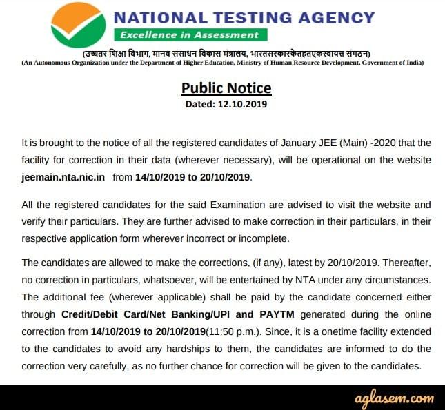JEE Main 2020 Form Correction