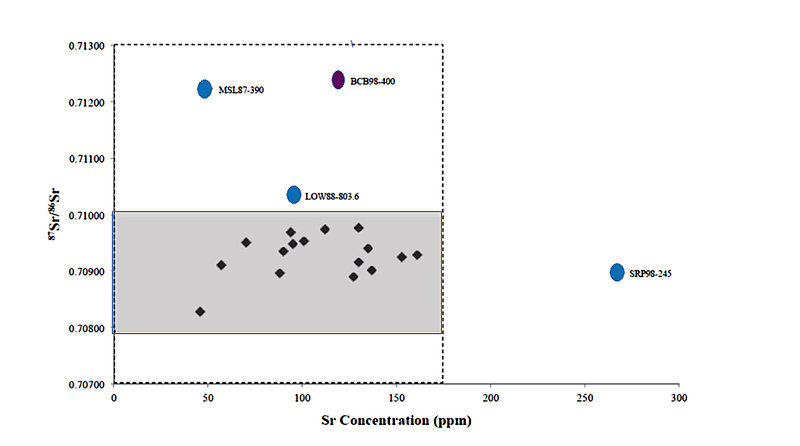 A scattergram of strontium values plotted against strontium concentration for individuals from Roman Britain. Most of the individuals have values which are quite close together, but there are 4 clear outliers