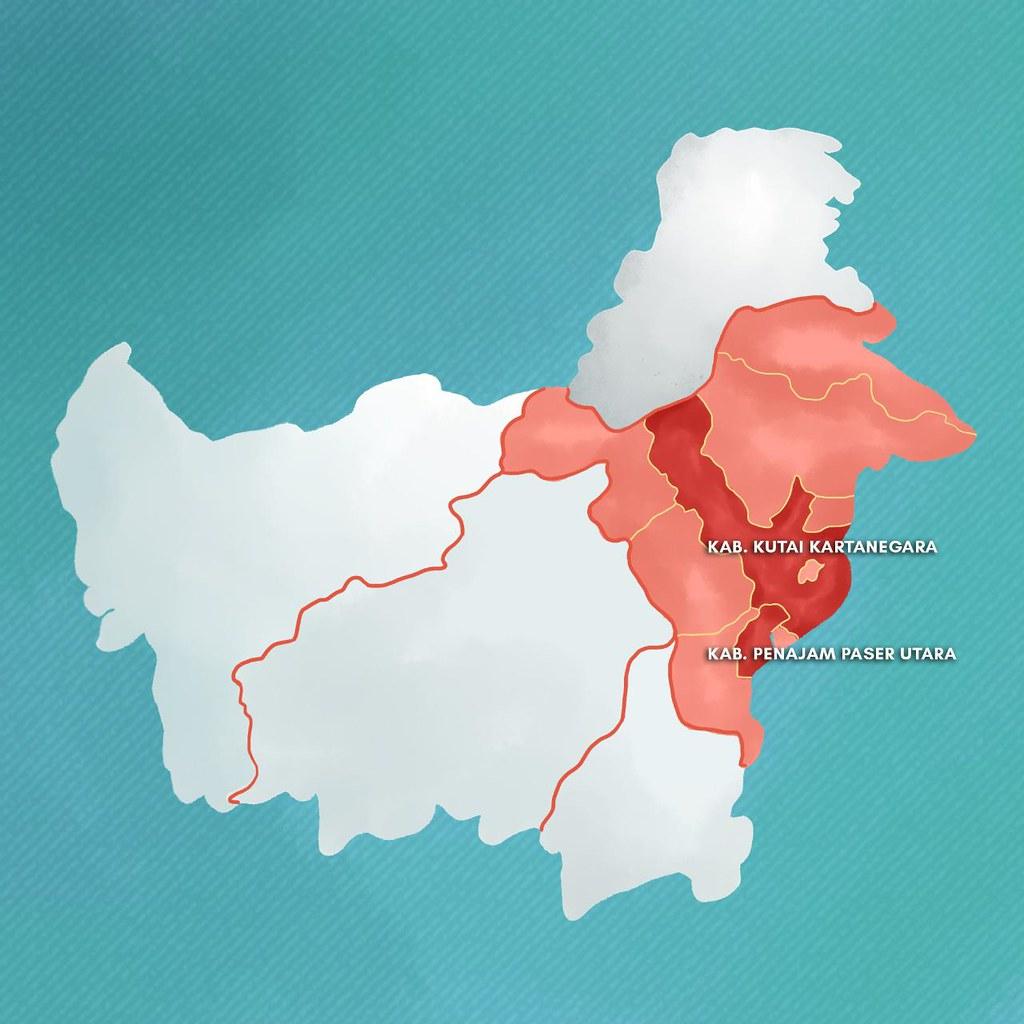 東加里曼丹省(淺紅色區域)、以及North Penajam Pasar和Kutai Kartanegara兩區域位置圖,新首都預定地則位於區域交界處。圖片來源:佐科威推特