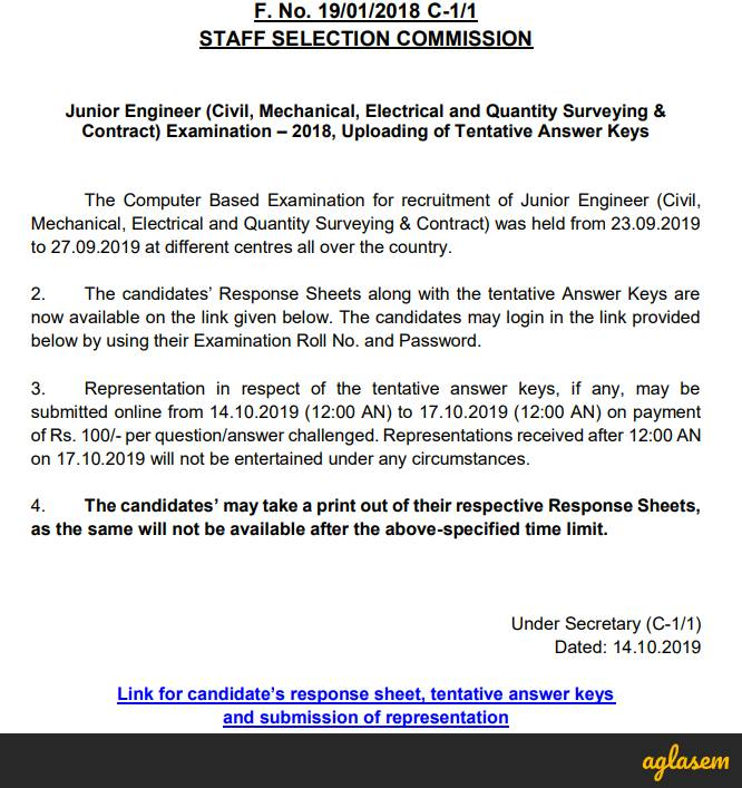 SSC JE Answer Key 2019 Released at ssc.nic.in; Submit Objection By October 17
