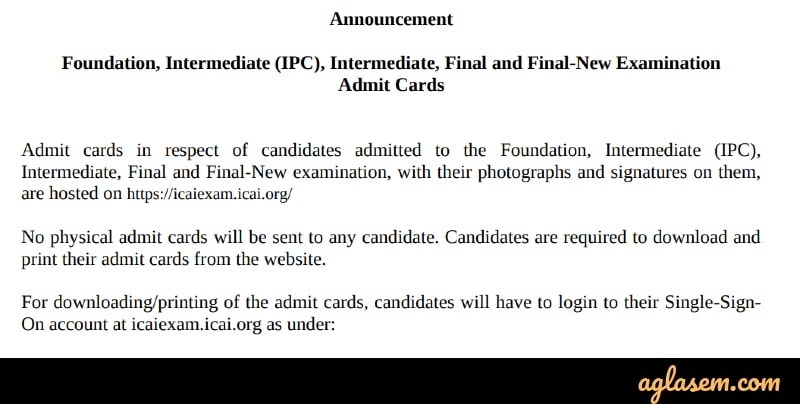 CA IPCC Nov 2019 Admit Card