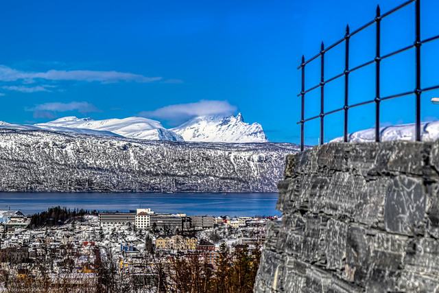 View of the surrounding mountains and town of Narvik, Norway -15a