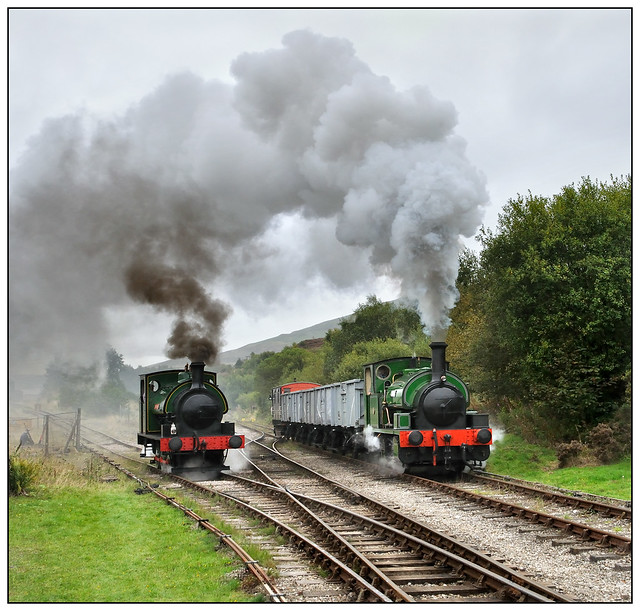 2019-1524 - Brookes No. 1 waits for the road as  Harold passes with mineral wagons.