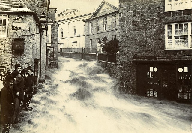 COPY1/418/917 Flood in Chapel Street, St Ives, Cornwall 1894