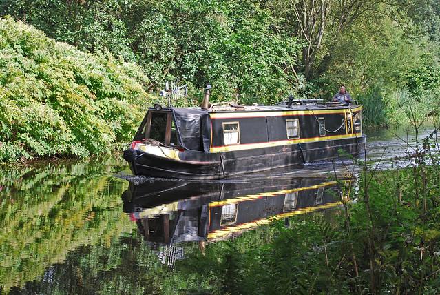 Narrowboat reflected