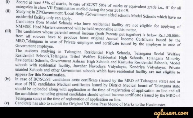 Telangana NMMS 2020 for Class 8 – Application Form, Eligibility, Syllabus, Notification