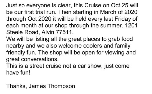 A Must Read Letter From James Thompson | by Camaro Kid Car Show Listings
