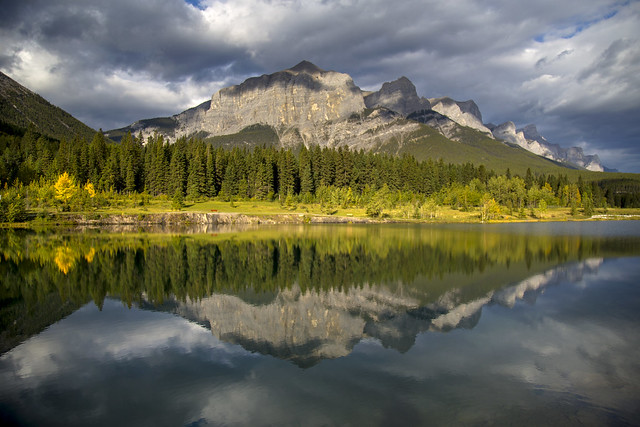 East end of Mount Rundle reflected in Quarry Lake