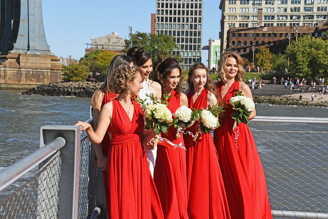 Candid Photo Of Bride And Bridemaids Taken At Brooklyn  Bridge Park. Photo Taken Sunday September 29, 2019