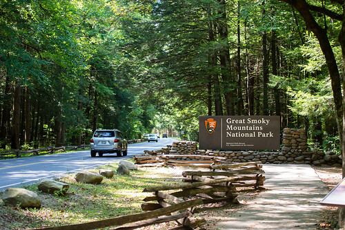 The entrance sign at the Great Smoky Mountains National Park.