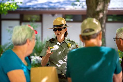 Lisa Hendy talks with park visitors.