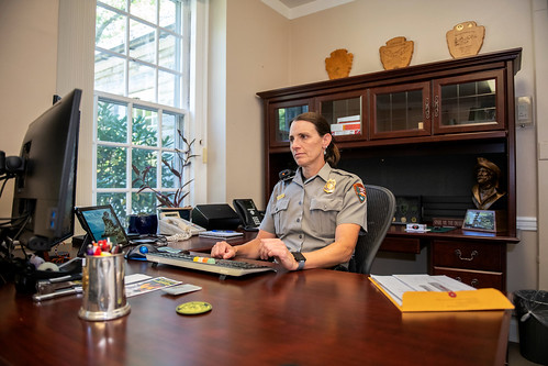 Lisa Hendy sitting in her office.