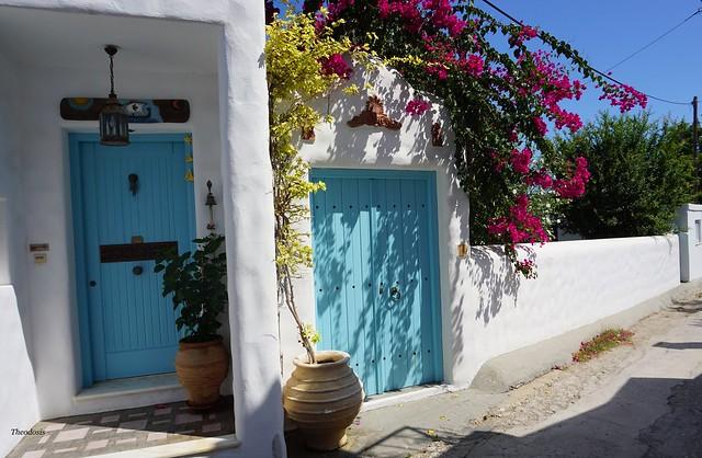 House entrances in Magazia, Skyros