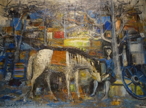 A Luis Vidal Molné mid-20th-century painting with lady next to a horse. From History Comes Alive at Locarno's Belvedere Hotel