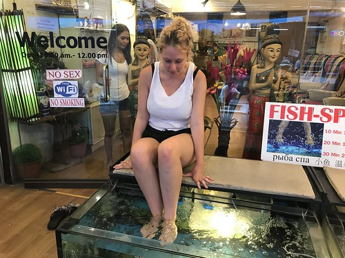 First dunk in the fish spa, Thailand