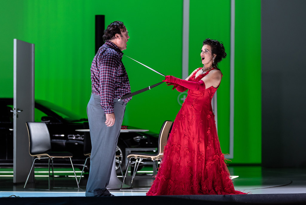 Bryn Terfel as Don Pasquale and Olga Peretyatko as Norina in Don Pasquale, The Royal Opera © 2019 ROH. Photograph by Clive Barda