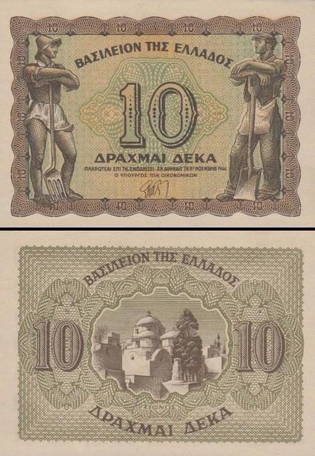 10 Drachmai Grécko 1944, P322