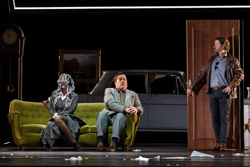Olga Peretyatko as Norina, Bryn Terfel as Don Pasquale and Markus Werba as Malatesta in Don Pasquale, The Royal Opera © 2019 ROH. Photograph by Clive Barda