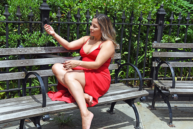 Picture Taken At Brooklyn Bridge Park Of Carolina Modelling In A Red Dress. Photo Taken Sunday July 29, 2018