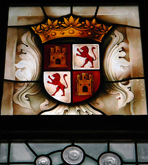 Coat of Arms depicted in a stained-glass window in Segovia Castle in Spain