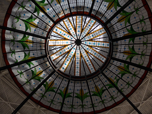 Stained-glass ceiling in a Victorian market in Puebla, Mexico