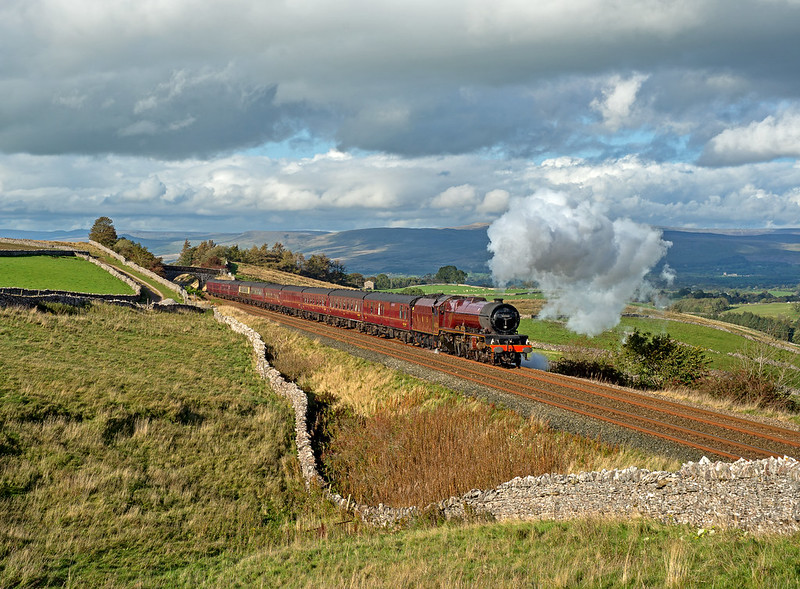 6201 'Princess Elizabeth' climbs past Greengates with the southbound RTC, Cumbrian Mountain Express in some lovely and very welcome autumn sunshine.  Taken by Joe.