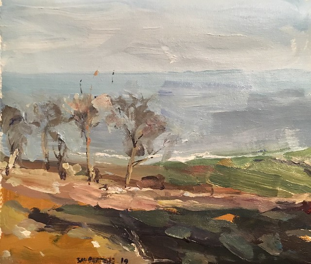 South Downs View acrylic 12 by 10 Inches