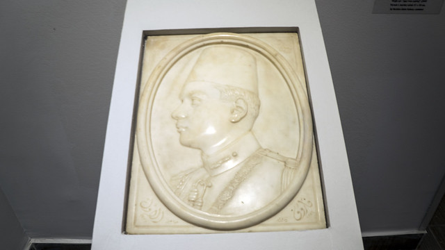 Farouk I of Egypt and Sudan in Marble at Features of an era exhibit