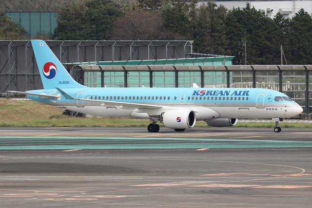 HL8091  -  Airbus A220-300  -  Korean Air  -  NRT/RJAA 9/10/19
