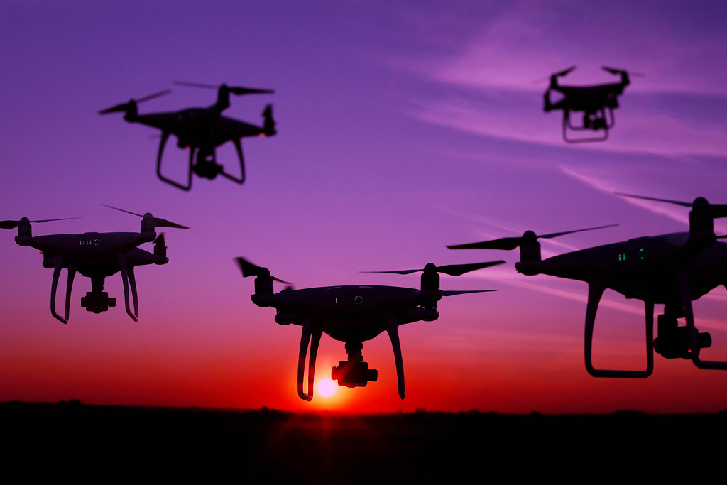 Five drones in the sky at sunset | ✅ Marco Verch is a Profes ...