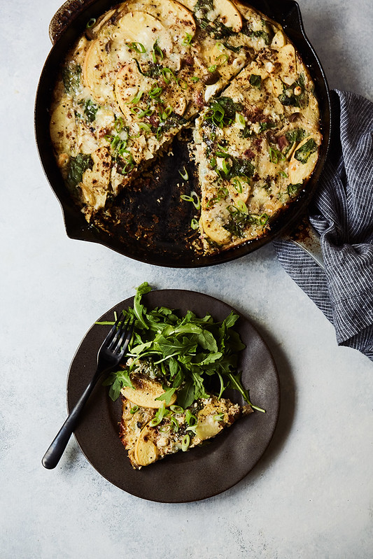 Fall Frittata with Pancetta, Apples, Greens and Goat Cheese {grain-free, low-carb/keto, options for whole30, paleo}