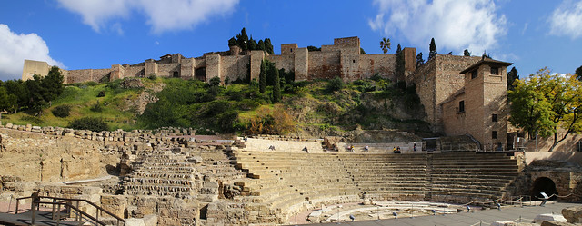 The Roman Theatre next to the outer walls of the Alcazaba fortress
