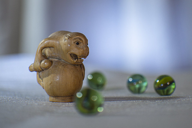 Drumming Monkey Excited by Marbles