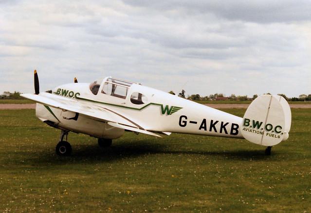 G-AKKB Miles M65 Gemini 1A cn 6537 BWOC Aviation Fuels Cranfield 07May90